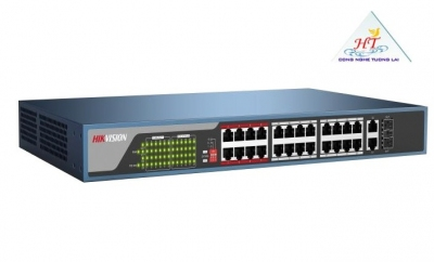 SWITCH HIKVISION MẠNG 24 CỔNG POE 100M, 2 CỔNG UPLINK 10/100/1000M , LAYER 2